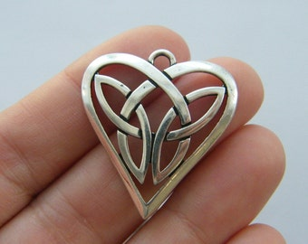 1 Celtic knot heart charm antique silver tone R101