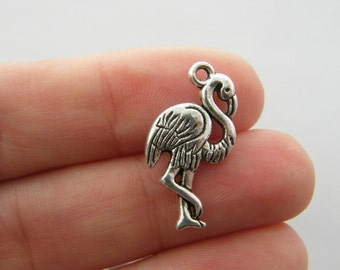 8 Flamingo charms antique silver tone B164