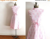 Reserved ON SALE 60s Dress / 1960s Pink Floral Print Polyester Dress