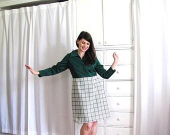ON SALE 60s Geometric Dress / 1960s Dress / Emerald Green 60s Dress