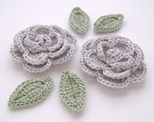 "Silver Grey 1-3/4"" Crochet Rose Flower Embellishments w/ Leaves Handmade Scrapbooking Fashion Accessories Appliques - 6 pcs. (3560-02L)"