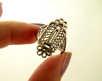 Filigree Ring - Sterling Silver - Vintage