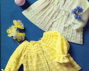 Baby KNITTING PATTERN - 2 Matinee Jackets/Cardigans/Sweaters 18 to 19 ins chest
