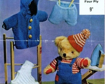 Teddy KNITTING PATTERN - To fit 12 inch height Teddy Bear - DK and 4 ply
