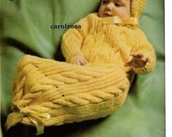 INSTANT DOWNLOAD - Knitting PATTERN - Cozy sleepsack Bunting Cocoon for Baby
