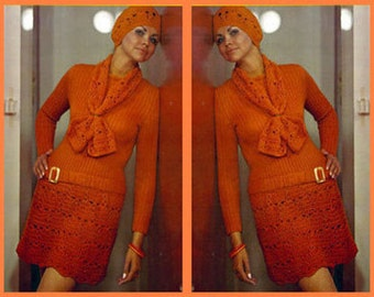 Reduced!! Crochet Pattern - Dress Beret and Scarf - Retro Fashion 1960s Style - Hipster Dress download