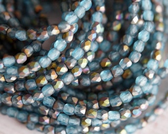 3mm Fire Polished Beads - Matte Teal Blue AB - Faceted Rounds - Czech Glass Beads - Bead Soup Beads