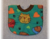 Cat baby bib pullover fleece cat print bib for baby through toddler years