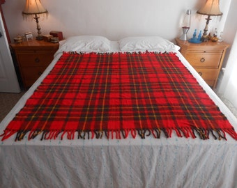 "Plaid Tartan Acrylic Throw/Couch or Bed Throw/Stadium Blanket/Mid Weight/Size 51"" by 58"" Length/Mid Century"