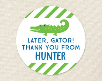 Alligator Party Favor Stickers - Sheet of 12 or 24