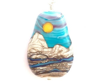 PENDANT: Handmade Lampwork Sunny Turquoise Pink Sky & Mountain River Landscape Focal Bead w/ Sterling Silver Findings