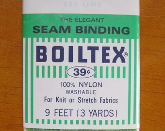 vintage boiltex stretch lace seam binding 3 yards in lime #222