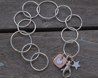 Sterling Silver hand made Chain with 2 charms Star and Heart Large Clasp Large Hand Forged Circle Links