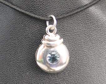 SALE Rescued Upcycled Vintage Sterling and  Blue Topaz Pendant