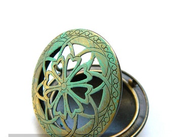 Patina Green Pinwheel Flower Filigree Locket Pendant (3 pieces) Victorian pendant base setting,perfume disfuer,scent locket