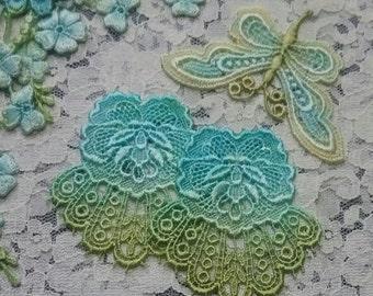 Turquoise Aqua Flower Butterfly Hand Dyed Venise Lace Embellishment Crazy Quilt Applique Kit