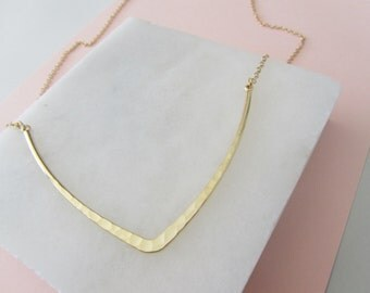 Golden V Necklace, Minimalist Necklace, Hammered Gold Necklace, Geometric Necklace,Gold Necklace,Statement Necklace,Layering Necklace,Gift