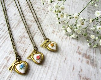 Personalised Heart Locket Necklace, Bridesmaid Gift, Shabby Chic Necklace