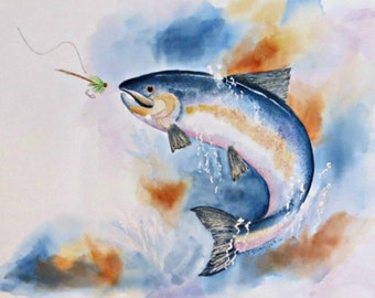 Here Fishy, Fishy (Limited Edition Giclee of Fish Coming Out of Water