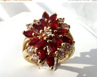 SALE Vintage Red Stone Cocktail Ring