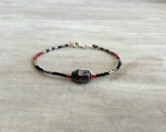 Bracelets with Miyuki Beads and Oxidized Silver Buddha Pendant, Everyday Jewelry, Silver Buddha, Yoga Mala bracelet, Healing,