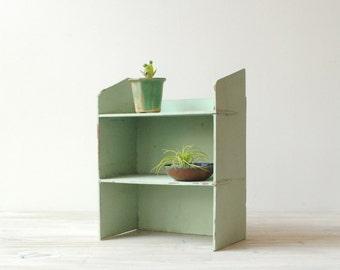 Vintage Wood Shelf Display in Green