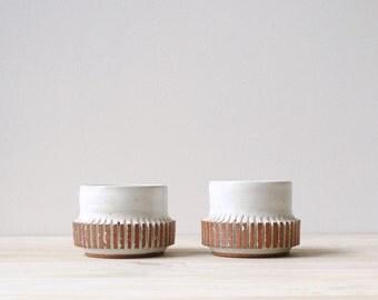 Vintage Handmade Studio Pottery Candleholder Pair / Dish, Bowl