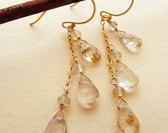 Gemstone earrings gold gemstone earrings long dangle earrings gold earrings gold quartz earrings gold rutilated quartz earrings handmade