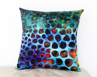 "Throw Pillow Cover from My Original Fabric Art Cell Colony 15"" x 15"""