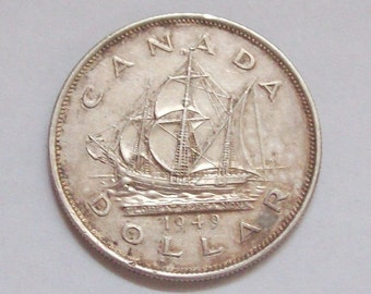 1949 Canadian Silver Dollar Ship Newfoundland Confederation