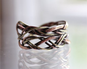 Ring in cupper and brass, statement ring, cupper ring, unique ring