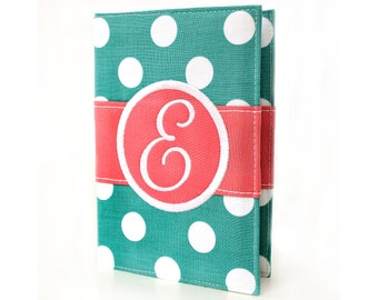 Teal Big Dots Personalized Journal - You select, fabric, frame, and font - Monogrammed sketchbook - Personalized gift - Lined journal