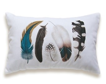 Feather Pillow Cover 12x18 inch White Cotton Black Brown Mustard Teal Blue PRINT DESIGN 44