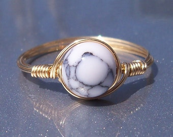 LG White Howlite 14k Yellow Gold Filled Wire Wrapped Ring
