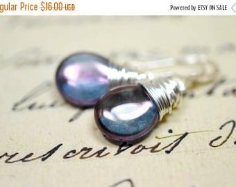 25% OFF SALE Twilight Earrings, Purple Haze Teardrop Earrings Silver Wire Wrapped Jewelry Sterling Silver Earrings Tanzanite Earrings Denim