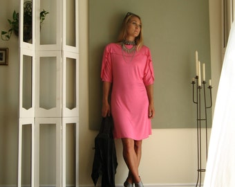 Modern Statement Dress Ruffled Neck / Sleeve Dolman Ballerina Sleeve Boat Neck Tunic A Line Summer Dress - Jersey -  XS - L - More Colours