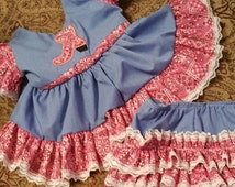 Boutique OOAK Pink Bandana Western Dress and Triple Ruffle Panties or Diaper Cover