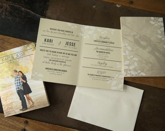Wedding Invitation Suite - Folded Wedding Invites -- natural foliage invitations (196)