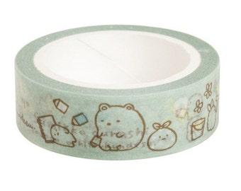 Sumikko Gurashi Masking Tape-Green for journaling, gift wrapping, party deco favor, scrapbooking, craft
