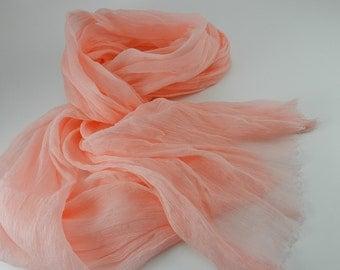 Handmade Silk Scarf --- Coral Pink