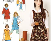 Apron Pattern, Smock Pattern, Vintage 1970's Apron Pattern, Simplicity Sewing Pattern 8152