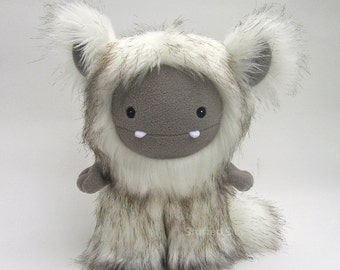 Plush Toy Monster, Cute, Soft Art Doll by Stuffed Silly - Frost Monster Series, Ivory, Brown and Khaki