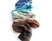 Hand dyed scarf, ombre, silk scarf, crinkle, hand painted silk, long scarf, turquoise scarf, blue scarf, coffee, chocolate, unisex, fashion