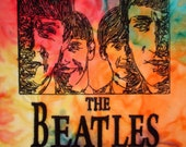 Beatles Embroidered Fabric Block 13""