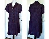 Vintage 1960s house dress - bigger size - side pockets - side pleats - bust 42