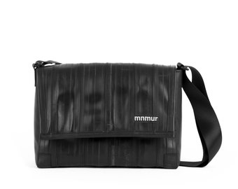 """Small Black Messenger Bag - made from recycled inner bike tubes // Fits up to a 13"""" laptop"""