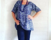 Marimekko soft floaty Tunic or Dress Navy on Blue