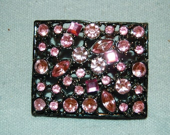 Vintage / Pink / Brooch / Rhinestones / old / jewellery / jewelry