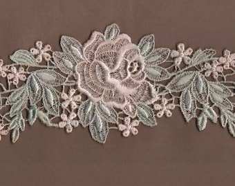 Hand Dyed Floral Venise Lace Applique Rose Swag Light Vintage Sea Blush