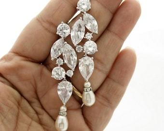 Long Bridal Earrings Crystal Bridal Earrings Cubic Zirconia Pearl Drop Earrings Wedding jewelry, Jackie Bridal Earrings